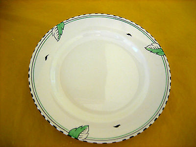 "ART DECO 1930's BURLEIGH WARE IVORY&GREEN LEAF SALAD PLATES  dia 9""  (0.45/150)"