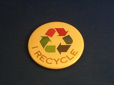 """I RECYCLE"" BUTTON pin pinback 2 1/4"" badge NEW! ECOLOGY GO GREEN EARTH ACTIVISM"