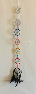 Native American Dream Catcher - 7 Mini Rings - Chakra Coloured - 60cm Total Drop