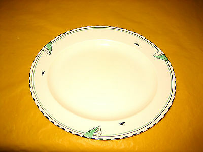"ART DECO 1930's BURLEIGH WARE IVORY&GREEN LEAF OVAL PLATE 12"" long  (0.8/100A)"