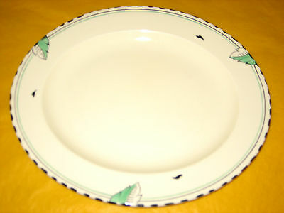 "ART DECO 1930's BURLEIGH WARE IVORY&GREEN LEAF OVAL PLATE 13.5"" long (1.2/150)"