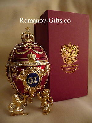 """Wizard of Oz Musical Faberge Egg & Ruby Slippers Necklace """"Over the Rainbow"""" !"""
