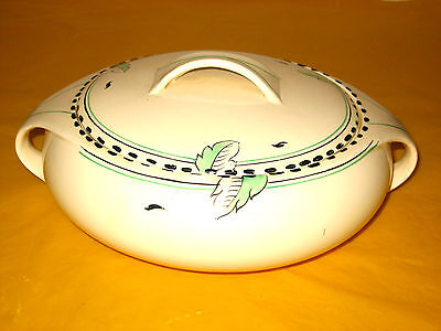 ART DECO BURLEIGH WARE IVORY&GREEN LEAF BALMORAL SHAP TUREEN/DISH 1.5Pt(1.0/172)