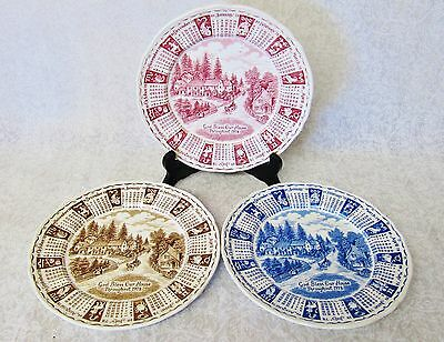 LOT OF 3 ALFRED MEAKIN STAFFORDSHIRE ENGLAND 1978 CALENDAR PLATE RED BROWN BLUE