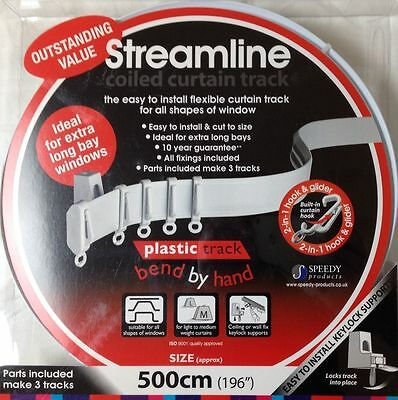 5m Bendable curtain track for Bay or Straight windows 5 meter (500cm) PVC