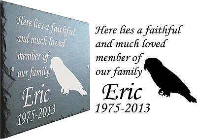 Pet Memorial Slate Plaque Personalised for Bird / Parrot / McCaw • EUR 20,75