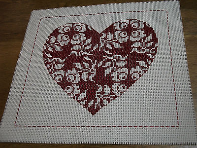 "Completed Cross Stitch - "" Heart of Roses """