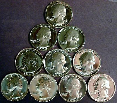 """ten Year Run"" Ten Coin Lot 1965-Sms Thru 1974-S Gem Proof Washington Quarters"