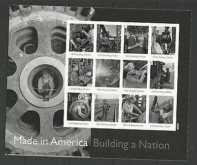 2013 #4801 Imperf Made in America Building a Nation Pane of 12 w/o Die Cuts