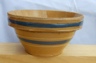 """Yellow Ware 5"""" Rare Mixing Bowl Antique Blue Band White Primitive Watts?"""