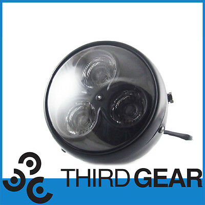 "Universal Motorcycle 7"" Mat Black LED Headlight Suitable For AJS Cafe Racer"