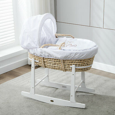 Full Set Natural Palm Moses Basket With Mattress,Bedding sets,and Rocking Stand
