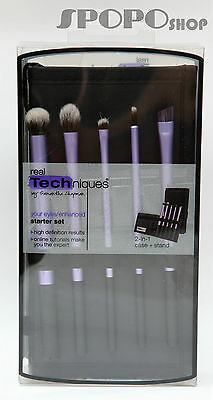 Real Techniques Eyes /Enhanced Brush Starter Sets 2in1 Case+Stand 100% Authentic