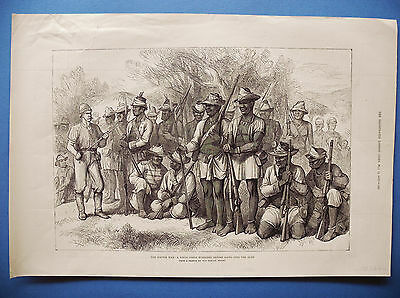 The kaffir war fingo corps mustered before going to bush South Africa PRINT 1878