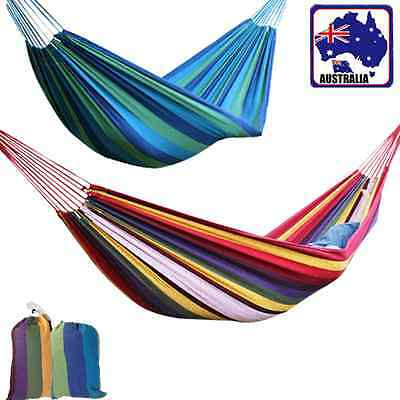 Canvas Hammock Outdoor Camping Hiking 1x2m 0.8x1.8m Red/Blue Stripe Sleep Gear
