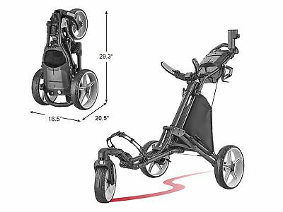 Caddytek EZ QF 360° Swivel Deluxe 3 Rad Golf Pushtrolley 3-Rad Caddy Schwarz