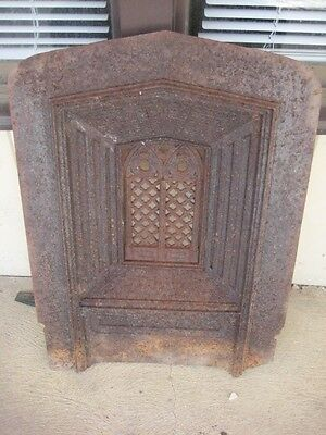 Large Heavy Antique Ornate Victorian Black Cast Iron Fireplace Cover Screen