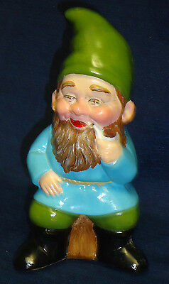 "6.5"" ceramic Jovial GNOME w/Pipe Figurine"