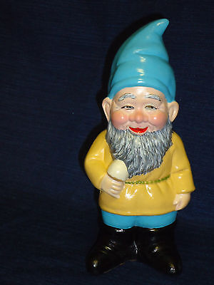 "7.25"" ceramic Jovial Gnome w/Ice Cream Cone Figurine"