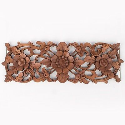Balinese Traditional LOTUS FLOWER carved wood panel Bali Wall Art architectural
