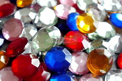 7mm Round Assorted Colour Acrylic Jewels - 65 Pack (Gems, Rhinestones)