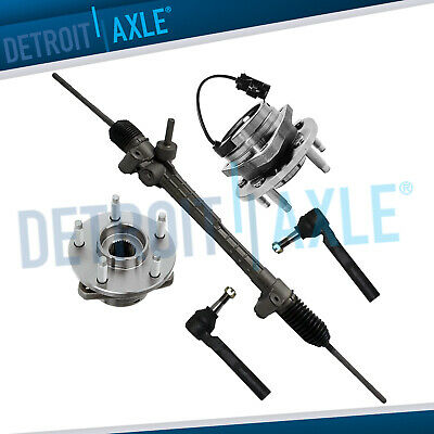 Electric Assist Steering Rack and Pinion, 2 Wheel Hub Bearing w/ ABS,  2 Tie Rod