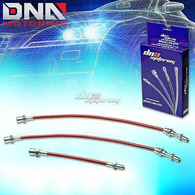 For 84-87 Toyota Corolla E80 Ae86 Stainless Red Brake Line Kit Front+Rear Drum