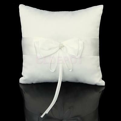 Ivory Satin Faux Pearl Flower Wedding Party POCKET Ring Bearer Pillow Cushion