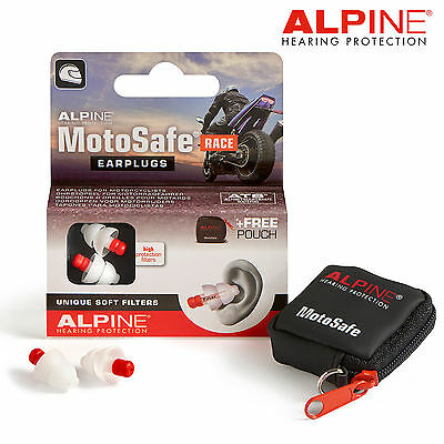 ALPINE MOTOSAFE EARPLUGS RACE 20dB SNR Filter New & Improved Motosafe Earplugs