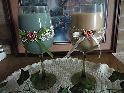 "GORGEOUS GREEN TINT GOBLET CANDLE~VICTORIAN LACE~YOUR CHOICE FRAGRANCE~9""T~18oz"