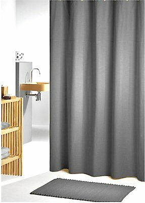 Charcoal Grey Fabric Shower Curtain 2m Long FREE SHIPPING New