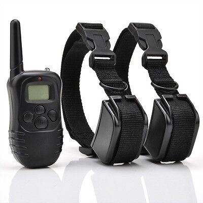 NEW LCD 100LV Level Shock Vibra Remote Pet Dog Training Collar For 2 Two Dogs