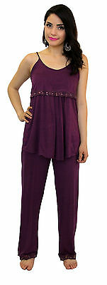 Maternity Nursing Bra Purple Pajama Night Gown Breastfeeding Set Lace S M L X