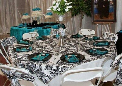 """10 Flocked Damask Overlays 60""""x60"""" Tablecloths Table Top Cover Flocking Square"""