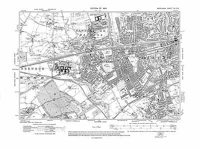 Old map Hanwell with parts of Brentford & Ealing 1920 Middlesex repro 15-SE