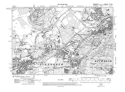 Old map Hounslow, Isleworth, Brentford 1920 Middlesex repro 20-NE