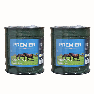 Green Premier 40mm Electric Fence Tape DOUBLE PACK