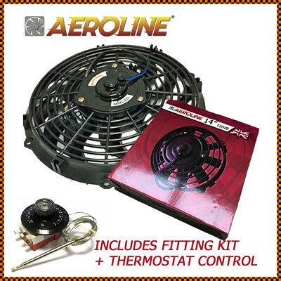 "14""  120w 12v AeroLine Universal Electric Radiator Cooling Fan + Thermostat"