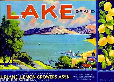 Upland Lake #1 Lemon Citrus Fruit Crate Label Art Print
