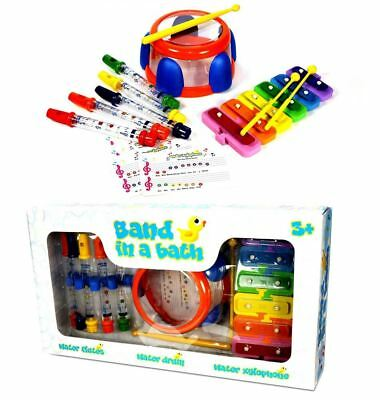 Band In A Bath Tub Water Flute Drum Xylophone Musical Toy Toddler Infant Playset
