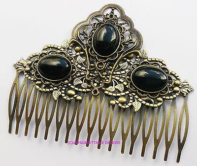 Tudor Dark Gold & Jet Black  Elaborate Hair Comb Alternative Crown Larp Ren Sca
