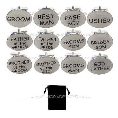 White oval mens wedding cufflinks cuff link Groom best man usher page gift