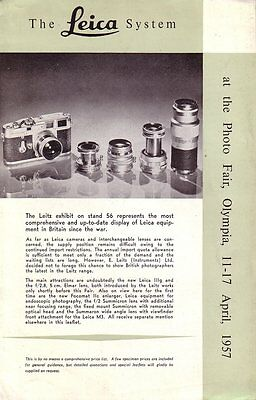Leica System at the 1957 Olympia Photo Fair - Original Fold Out Leaflet