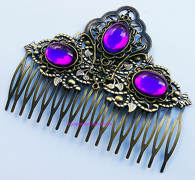 Tudor Dark Gold & Purple Violet Hair Comb Alternative Crown Larp Ren Sca