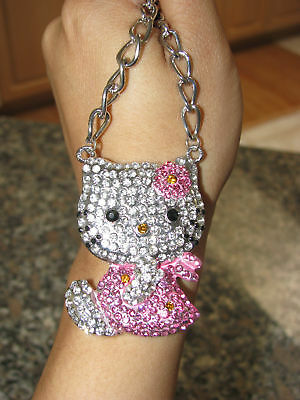 New X Large Hello Kitty Clear Crystal Pink Crystal Bow & Dress Silver Necklace
