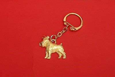 Miniature Schnauzer Dog Gold Plated Pewter Keyring Free Pouch Fathers Day Gift