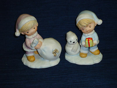 Homco BOY Children CHRISTMAS Winter Figurines w/Snowman & Bag of Toys