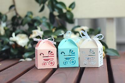 12pc Baby Pram Bomboniere Favour Box for Baby Shower Thank You Christening