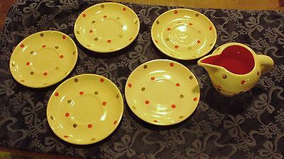 SWEET ROMETTI ITALY HAND PAINTED VINTAGE POLKA DOT POTTERY CREAMER & 5 SAUCERS