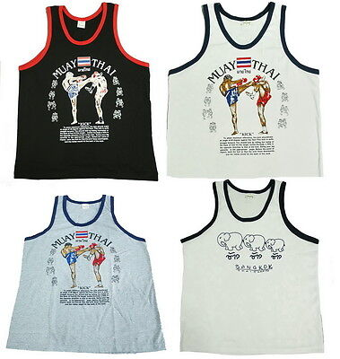 Singlets Tank Top T-Shirts Vest Sleeveless Muay Thai Boxing Style Men Women